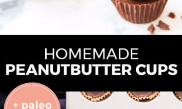 """Longer Pinterest pin with two images. Top image is of a stack of peanut butter cups on a counter. Bottom image is of a tray filled with peanut butter cups being assembled. Text overlay says,"""" Homemade Peanutbutter Cups: + paleo option!"""""""