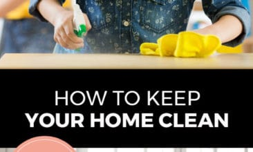 """Longer Pinterest pin with two images. Top image is of a little girl cleaning a countertop with her mother watching in the background. Bottom image is of a family sitting in a clean living room. Text overlay says, """"How to Keep Your Home Clean: even with kids around!"""""""