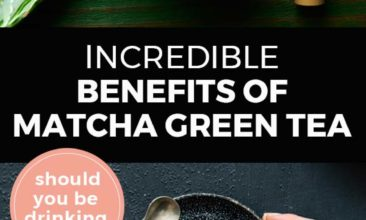 """Longer Pinterest pin with two images. Top image is of a cup of matcha green tea with a bowl of green tea powder. Bottom image is of a woman's hand holding a mug of matcha green tea. Text overlay says, """"Incredible Benefits of Matcha Green Tea: should you be drinking it?"""""""