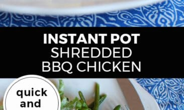 "Longer Pinterest pin with two images. Top image is of a side angle of a plate with two small slider buns filled with bbq shredded chicken. Bottom image is of a vertical view of the same plate. Text overlay says, ""Instant Pot Shredded BBQ Chicken - quick and easy!"""
