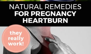 "Longer Pinterest pin with two images. Top image is of a pregnant woman's belly. Bottom image is of a woman holding her hands over her chest as in pain. Text overlay says, ""Natural Remedies for Pregnancy Heartburn: they really work!"""