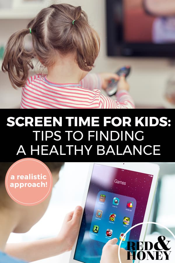 "Pinterest pin with two images. Top image is of a little girl holding a TV remote. Bottom image is of a young boy holding an ipad. Text overlay says, ""Screen Time For Kids: Tips to Finding A Healthy Balance, A Realistic Approach!"""