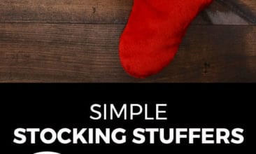 """Longer Pinterest pin with two images. Top image is of two stockings hanging on a wall. Bottom image is of a little boy peeking into his stocking. Text overlay says, """"Simple Stocking Stuffers: for preschooler, toddler & baby!"""""""