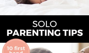 """Longer Pinterest pin with two images. Top image is of a mom laying on a bed with a kid on top of her. Bottom photo is of a mom getting a hug from her daughter, both are smiling. Text overlay says, """"Solo Parenting Tips: 10 first hand tips!"""""""