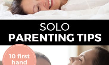 """Pinterest pin with two images. Top image is of a mom laying on a bed with a kid on top of her. Bottom photo is of a mom getting a hug from her daughter, both are smiling. Text overlay says, """"Solo Parenting Tips: 10 first hand tips!"""""""