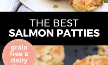 "Longer Pinterest pin with two images. Top image is of salmon patties on a white plate with lemon wedge. Bottom image is of salmon patties cooking in a cast iron pan. Text overlay says, ""The Best Salmon Patties: Grain Free & Dairy Free""."