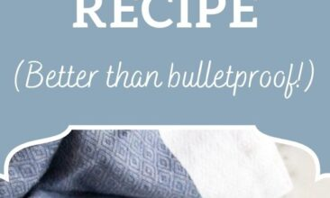 """Pinterest pin, image is a fancy teacup filled with bulletproof chai. Text overlay says, """"Butter Chai Latte Recipe: Better Than Bulletproof""""."""