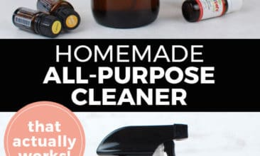 "Longer Pinterest pin with two images. Top image is an amber glass spray bottle with essential oil bottles on a counter. Bottom image is a close up of the glass cleaning spray bottle. Text overlay says, ""Homemade All-Purpose Cleaner: That actually works!"""