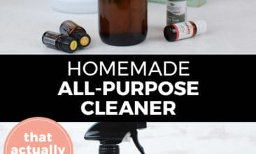 """Pinterest pin with two images. Top image is an amber glass spray bottle with essential oil bottles on a counter. Bottom image is a close up of the glass cleaning spray bottle. Text overlay says, """"Homemade All-Purpose Cleaner: That actually works!"""""""