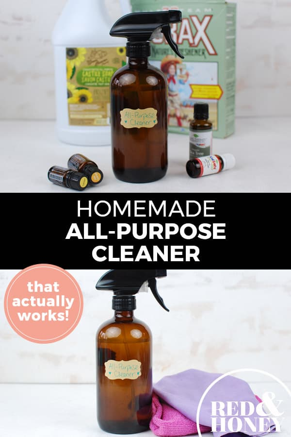 "Pinterest pin with two images. Top image is an amber glass spray bottle with essential oil bottles on a counter. Bottom image is a close up of the glass cleaning spray bottle. Text overlay says, ""Homemade All-Purpose Cleaner: That actually works!"""