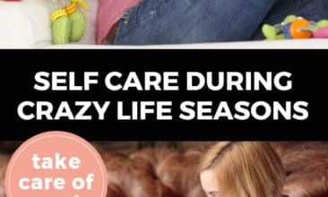 """Longer Pinterest pin with two images. Top image is of a woman sitting on a chair reading a book and holding a cup of coffee. Bottom image is of a woman holding a baby sitting on the couch and working on her laptop. Text overlay says, """"Self Care During Crazy Life Seasons: take care of you!"""""""