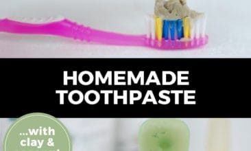 """Pinterest pin with two images. Top image is of a hand squeezing homemade toothpaste on a toothbrush. Bottom image is of a jar of homemade toothpaste with a toothbrush sitting on top of it. Text overlay says, """"Homemade Toothpaste... with clay & coconut oil!"""""""