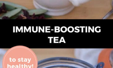"""Longer Pinterest pin with two images. Top image is of a mug of tea, bottom image is of a bowl filled with herbs. Text overlay says, """"Immune-Boosting Tea to stay healthy!"""""""