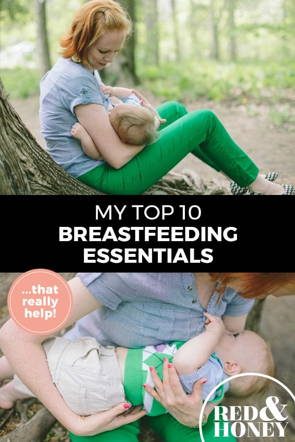 "Pinterest pin with two images. Top image is of a woman nursing her child. Bottom image is another angle of a mother nursing her child. Text overlay says, ""My top 10 breastfeeding essentials... that really help!"""