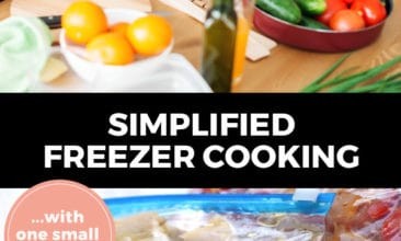 """Pinterest pin with two images. Top image is of two women in the kitchen chopping vegetables. Bottom image is of freezer ziptop bags filled with freezer meals. Text overlay says, """"Simplified Freezer Cooking... with one small tweak!"""""""