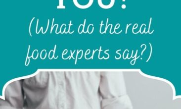 "Pinterest pin collage. Image is of a chef standing behind a kitchen work surface that is heavily dusted with flour, a ball of dough is on the floured surface. Text overlay reads ""Are grains bad for you? What do the real experts say?"""