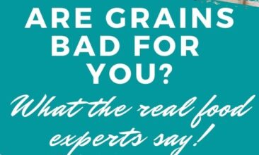 "Pinterest pin collage. One image is of a person holding out a loaf of bread, the second is of a chef standing behind a kitchen work surface that is heavily dusted with flour, a ball of dough is on the floured surface. Text overlay reads ""Are grains bad for you? What do the real experts say?"""