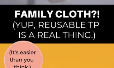 """Collage of toilet-paper related images with text overlay that reads """"family cloth?! Yup, reusable TP is a real thing""""."""