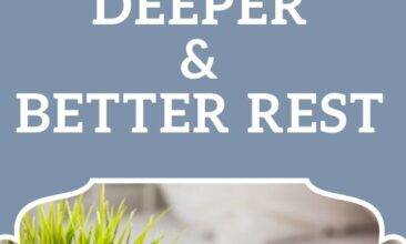 """Pinterest pin, image is of a bedside table with an alarm clock and plant on it, a bed is in the background. Text overlay reads """"8 Natural Sleep Tips for Deeper Better Rest."""""""