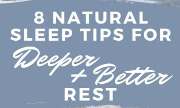 """Pinterest pin. One image is of a bedside table with an alarm clock and plant on it, a bed is in the background. Second image is of a bed against a wall. Text overlay reads """"8 Natural Sleep Tips for Deeper Better Rest."""""""