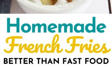 """Pinterest pin with two images. One image is of homemade french fries. Second image is of french fries cooking in oil in a cast iron pan. Text overlay says, """"The Best Homemade French Fries: just 2 ingredients!"""""""