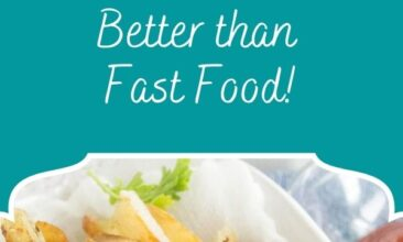 """Pinterest pin, image is of homemade french fries in a small dish. Text overlay says, """"The Best Homemade French Fries: just 2 ingredients!"""""""