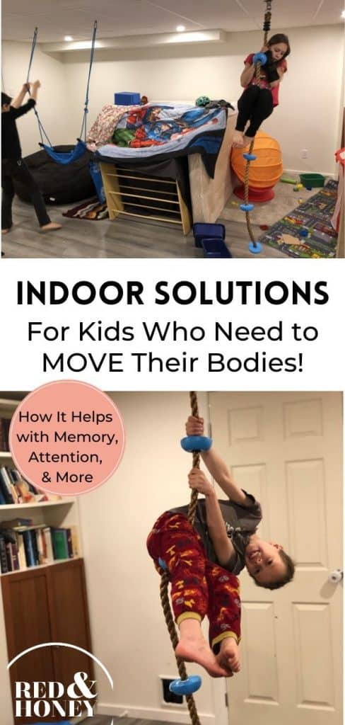 collage image with two photos of kids on indoor climbing and play equipment, with text overlay.