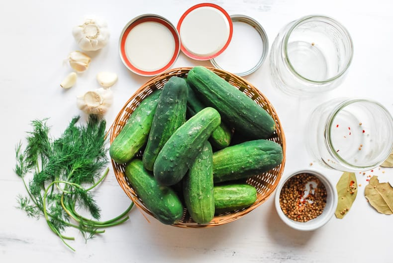 Photo from above, a full Basket of pickling cucumbers sits in the middle, fresh dill, garlic, spices, herbs and canning jars surround the basket.