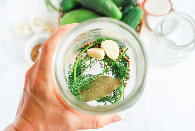 Photo from above looking into a canning jar, fresh dill, garlic, spices and bay leaves sit at the bottom.