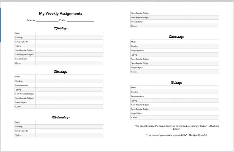 Blank Daily planning sheets for homeschooling.