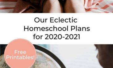 "Pinterest pin collage of a child with a globe, and a child reading a book on a bed. Overlay text reads ""Our Eclectic Homeschool Plans for 2020-2021"""