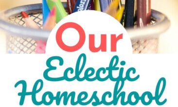 """Pinterest pin collage of school supplies, a mesh pencil cup of sharpened coloured pencil crayons, a blank sketchbook, paints, and paintbrushes. Text overlay reads """"Our Eclectic Homeschool Plans for 2020-2021"""""""