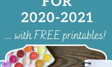 "Pinterest pin of art supplies, a blank sketchbook, paints, and paintbrushes. Text overlay reads ""Our Eclectic Homeschool Plans for 2020-2021"""