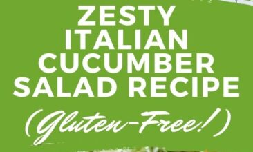 """Pinterest pin with two images. The top image is a bowl of cucumber noodles with onions and tomatoes, the second image is of a bowl of cucumber noodles with tomatoes sitting on a table. Text overlay says, """"Zesty Italian Cucumber Salad Recipe: Gluten free vegetable noodles""""."""
