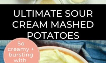 Pinterest pin with 2 images, the first is an overhead shot of mashed potatoes on a blue tea towel. The second image is an overhead shot of all the ingredients layed out on the surface.
