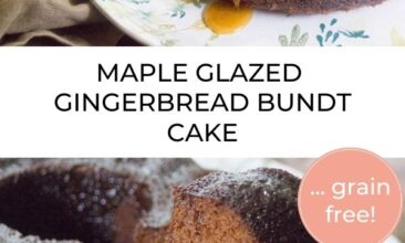 """Pinterest pin with two images. One image is of a maple glazed gingerbread bundt cake. Second image is of a bundt cake with a slice taken out. Text overlay says, """"Gingerbread Bundt Cake: perfect for the holidays!"""""""