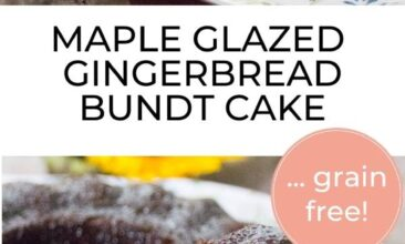 "Pinterest pin with two images. One image is of a maple glazed gingerbread bundt cake. Second image is of a bundt cake with a slice taken out. Text overlay says, ""Gingerbread Bundt Cake: perfect for the holidays!"""
