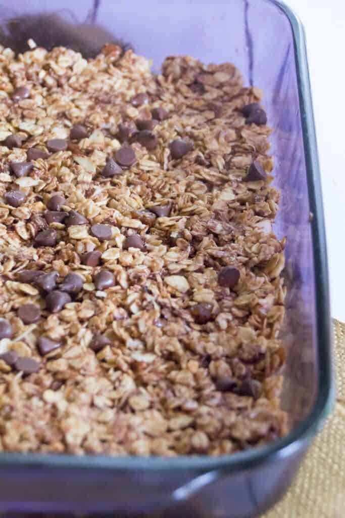 Close up image of healthy granola bars recipe with oats and honey and chocolate chips.