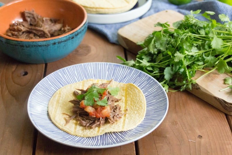 Shredded beef on a soft taco shell on a plate with tomato and cilantro garnish on a wood surface.