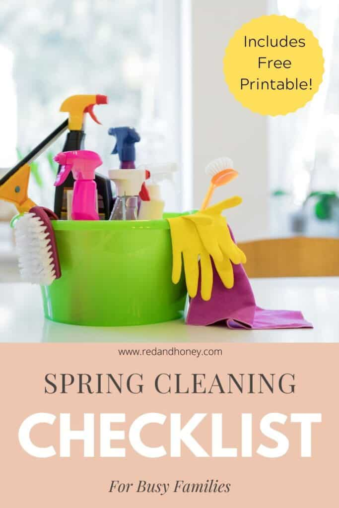 pinterest image of cleaning supplies with text overlay reading: spring cleaning checklist