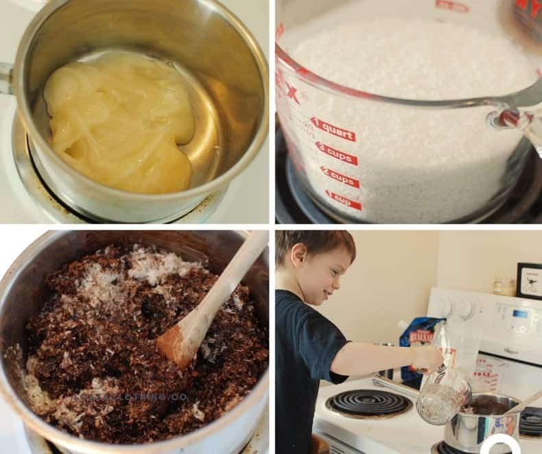 A collage of four photos showing the process of making chocolate coconut macaroons: honey melting in a pot, measured coconut, mixing together, and a child pouring ingredients.