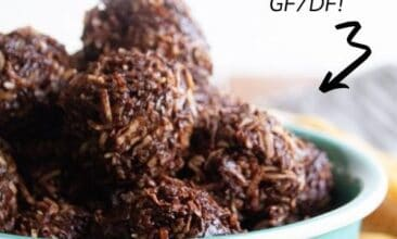 close up of chocolate coconut macaroons in a bowl, with text overlay of title