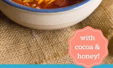 pin image with chili in a bowl with cheese and sour cream, plus a blue section with the recipe title reading the best chili recipe with cocoa and honey.
